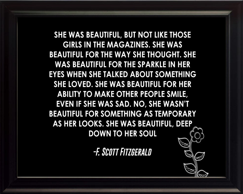 F Scott Fitzgerald She Was beautiful Poster, Print, Picture or Framed Photograph