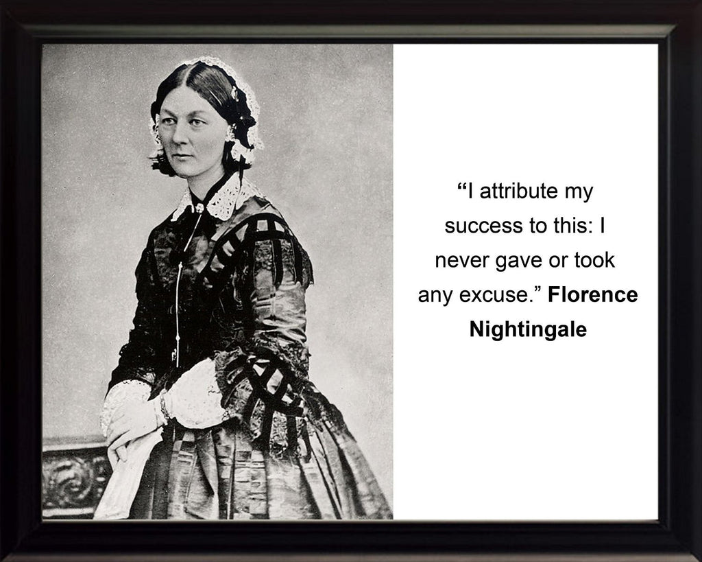 "Florence Nightingale ""I attribute my success"" Quote 8x10 Framed Photo"