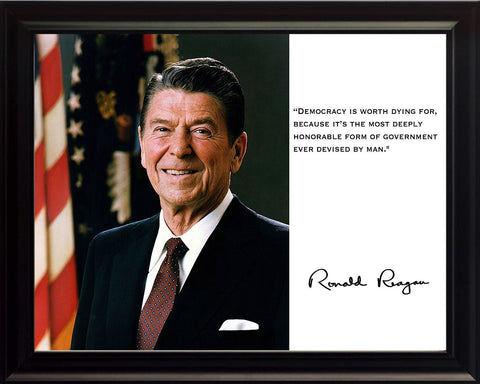 Ronald Reagan President Democracy Quote 8x10 Framed Photograph