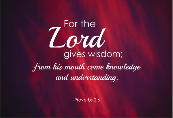 Proverbs 2:6 For The Lord Poster, Print, Picture or Framed Photograph