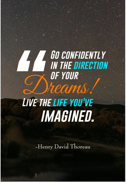 Henry David Thoreau Go Confidently In Poster, Print, Picture or Framed Photograph