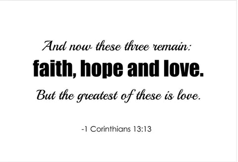 1 Corinthians 13:13 And Now These Poster, Print, Picture or Framed Photograph