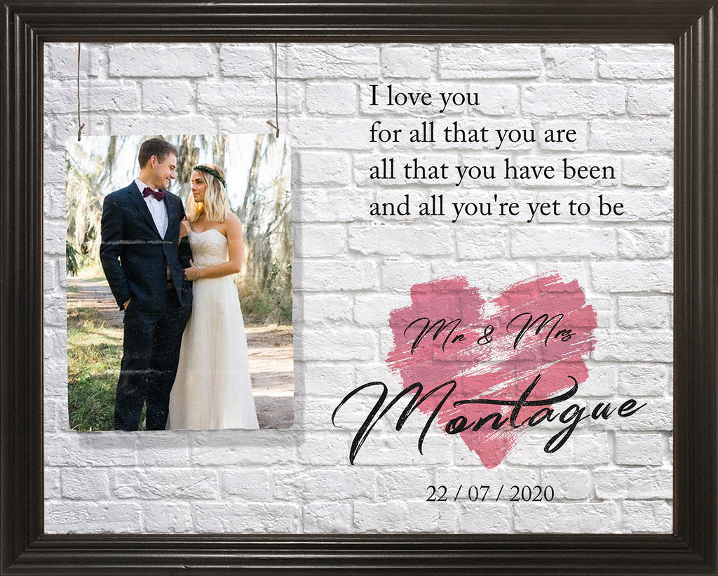 Gift For Newly Weds, Framed Personalized Wedding Gift, Gift For Husband, Gift For Wife, Wedding Anniversary Gift Idea, 11x14 Framed Picture