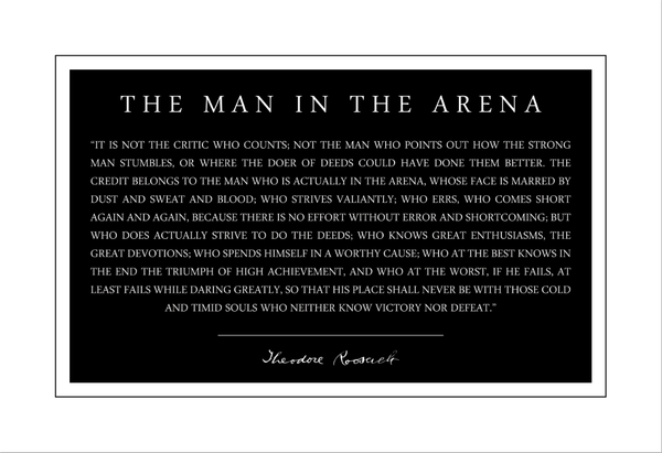 Theodore Teddy Roosevelt the Man in the Arena Quote 13x19 Poster