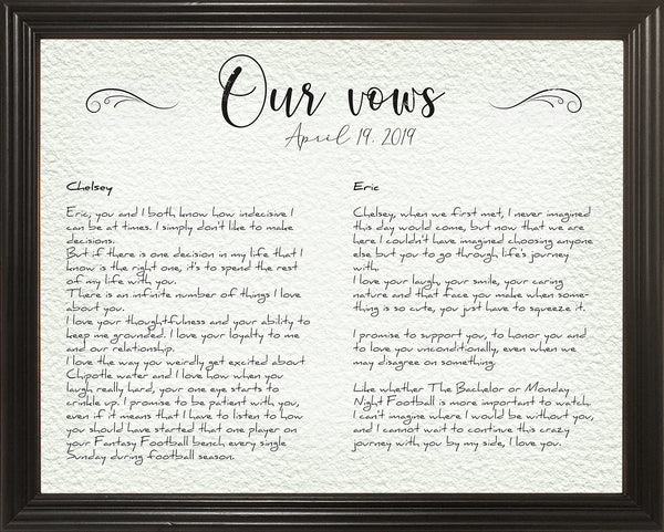 Frame Your Wedding Vows, Our Vows, Gift For Newly Weds, Gift For Husband, Gift For Wife, Wedding Anniversary Gift Idea, 11x14 Framed Picture
