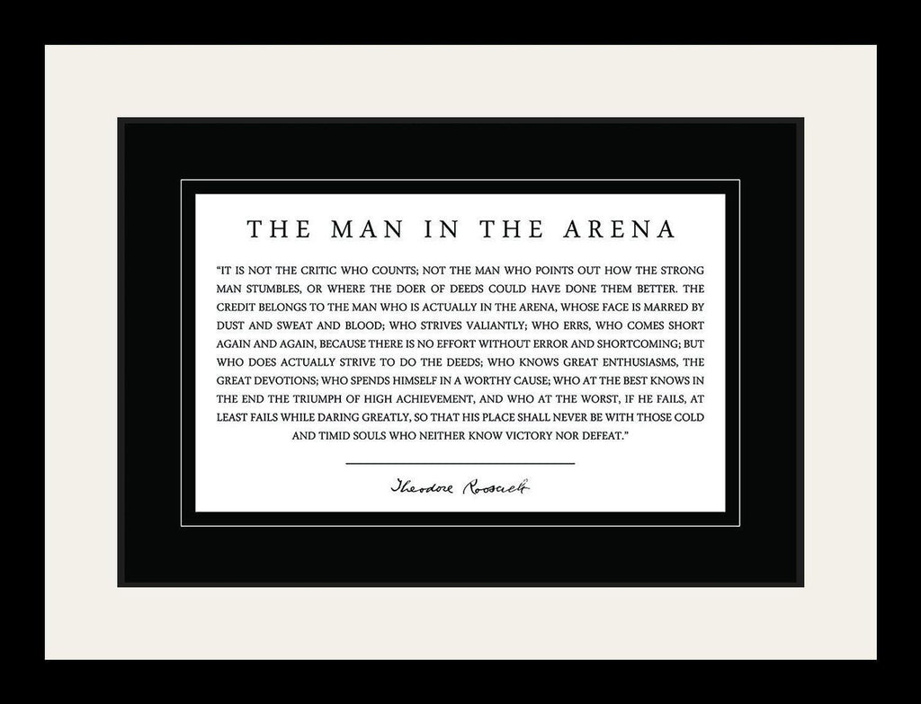 graphic relating to Man in the Arena Free Printable known as Theodore Teddy Roosevelt the Male within the Arena Estimate 19x25 Matted Framed Visualize