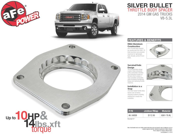 aFe Silver Bullet Throttle Body Spacers TBS 2014 GM Silverado/Sierra 1500 V8 5.3L
