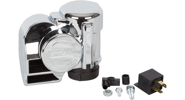 Chrome Dual-Tone Motorcycle Electric Air Horn (Ads) - HornBlasters