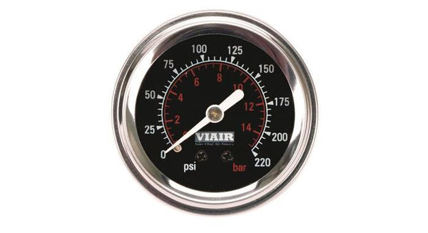 "Viair 220 PSI 2"" Single Needle Black Air Gauge"