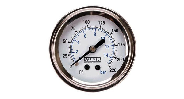 "Viair 220 PSI 2"" Single Needle White Air Gauge"