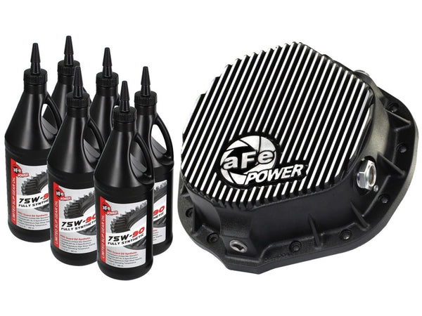 aFe Power Cover Diff Rear Machined w/ 75W-90 Gear Oil Dodge Diesel Trucks 03-11 L6-5.9/6.7 (td)