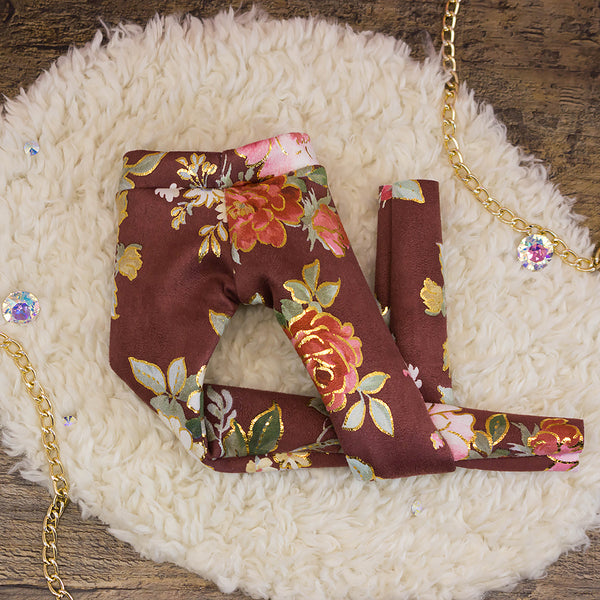 40cm - Maroon Gold Foil Floral Leggings