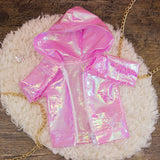 40cm - Pink Iridescent Raincoat