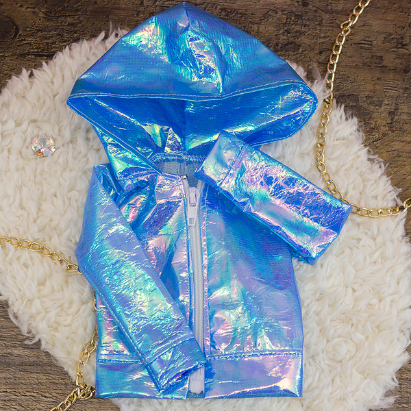 40cm - Blue Iridescent Raincoat