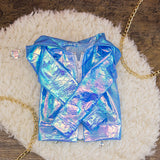 60cm - Blue Iridescent Raincoat