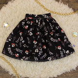 60cm - Black and Red Floral Gathered Skirt