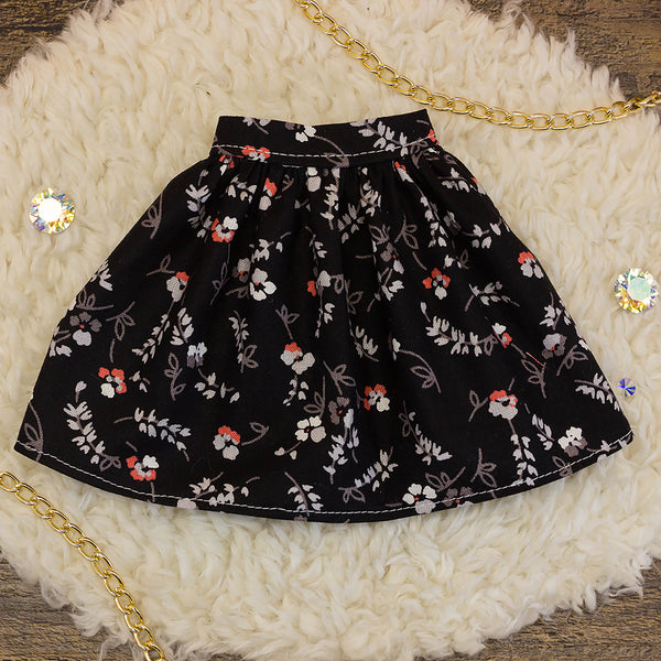 40cm - Black and Red Floral Gathered Skirt