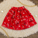 40cm - Red and Black Floral Gathered Skirt
