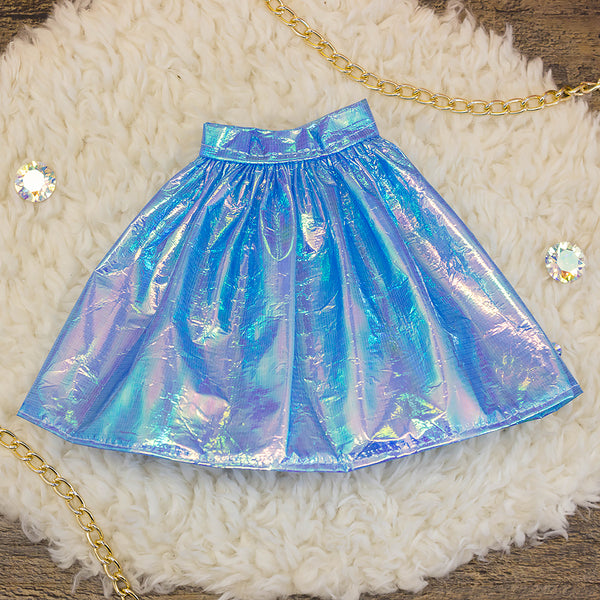 40cm - Blue Iridescent Gathered Skirt