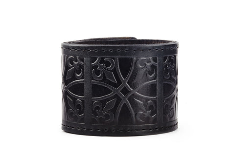 Fleur de Lis Black Leather Cuff - The Raven Works