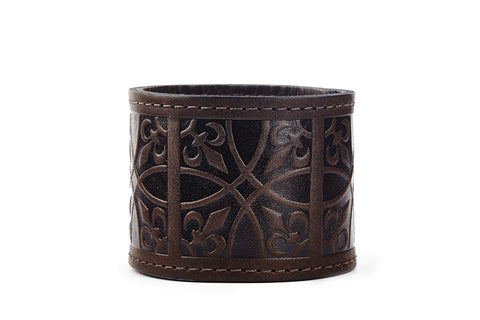 Fleur de Lis Brown Leather Cuff - The Raven Works