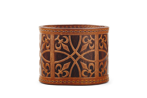 Fleur de Lis Cognac Leather Cuff - The Raven Works