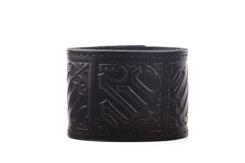Gothic Black Leather Cuff Bracelet - The Raven Works