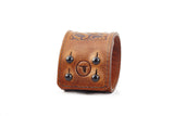 The Raven Works Gothic Cognac Leather Cuff Bracelet