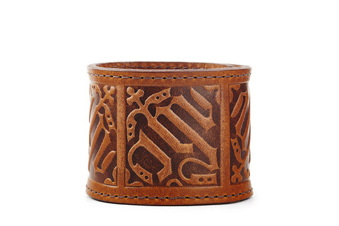 Gothic Cognac Leather Cuff Bracelet - The Raven Works
