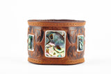 The Raven Works Cognac Leather Cuff with Abalone