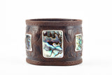 The Raven Works Brown Leather Cuff with Abalone