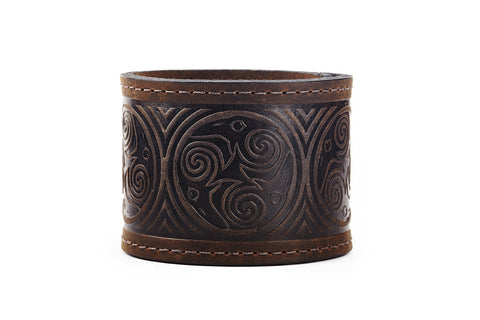Nine Ravens Black Leather Cuff - The Raven Works