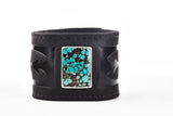 Poseidon Turquoise Brown Leather Cuff - The Raven Works