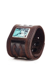 Poseidon Turquoise Brown Leather Cuff