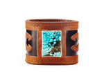 Poseidon Turquoise Cognac Leather Cuff - The Raven Works