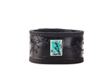 Black Leather Cuff Bracelet with Turquoise Sakura Motif – Cherry Blossom