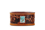 Cognac Leather Cuff Bracelet with Turquoise Sakura Motif – Cherry Blossom