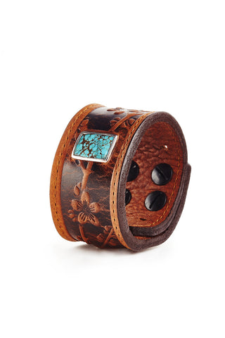 Sakura Cognac Leather Cuff with Turquoise Stone