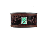 Brown Leather Cuff Bracelet with Turquoise Sakura Motif – Cherry Blossom