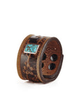 Sakura Brown Leather Cuff with Turquoise Stone