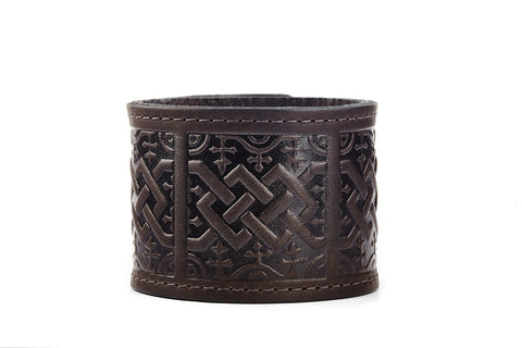 Scottish Chord Brown Leather Cuff - The Raven Works