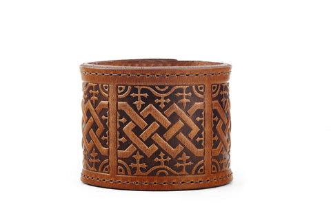 Scottish Chord Cognac Leather Cuff - The Raven Works