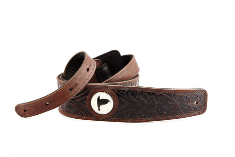 Wolf brown leather guitar strap - The Raven Works