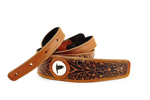 Wolf cognac leather guitar strap - The Raven Works
