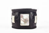 Warrior Black Leather Cuff with Mother of Pearl by Joshua B. C. Hoy