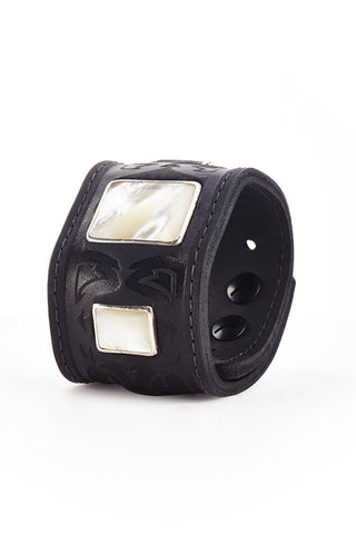 Leather Cuff Bracelets with Mother of Pearl