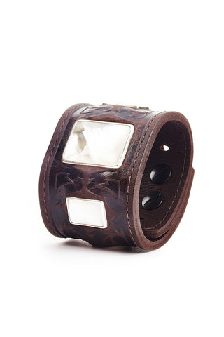 The Raven Works Brown Leather Warrior Cuff