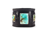 Warrior Black Leather Cuff with Turquoise - The Raven Works
