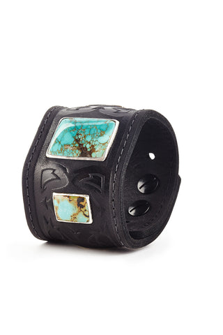 Warrior Black Leather Cuff with Turquoise by Joshua B. C. Hoy