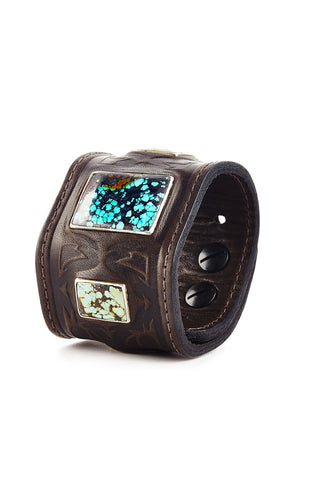 Brown Warrior Leather Cuff with Turquoise